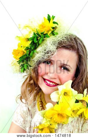 Beautiful Smiling Girl With Narcissus