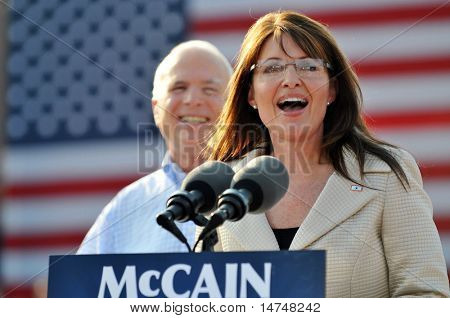 O'FALLON - AUGUST 31: Saran Palin speaks to the crowd at an appearance at a rally in O'Fallon near St. Louis, MO on August 31, 2008
