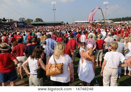 O'FALLON - AUGUST 31: Crowds gather at a McCain - Palin rally in O'Fallon near St. Louis, MO on August 31, 2008
