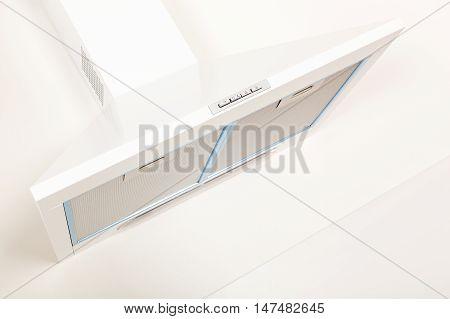 White modern simple minimal kitchen hood. Modern kitchen design.