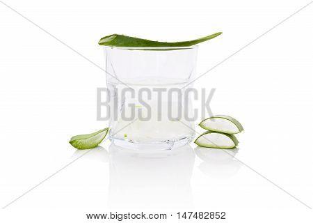 Aloe vera drink. Aloe vera drink sliced leaf and aloe vera gel isolated on white background.