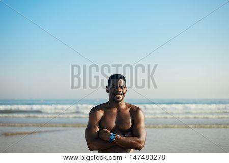 Black Fit Athlete Portrait At The Beach