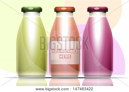 Vector set of transparent glass or plastic green, burgundy  and purple liquid bottle with caps for juice mockup ready for your design