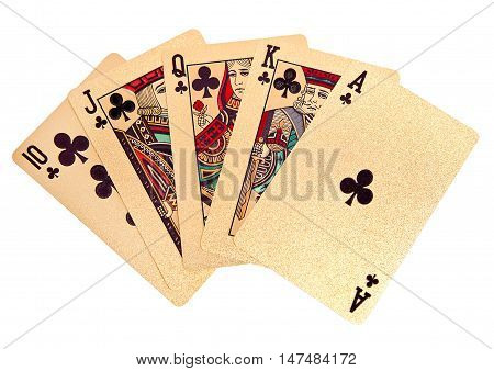 Royal straight flush golden playing cards poker hand. On white background