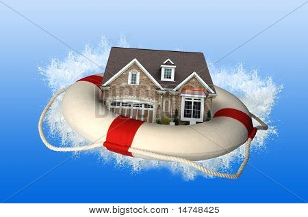 House market crisis represented by house and life preserver crashing on water