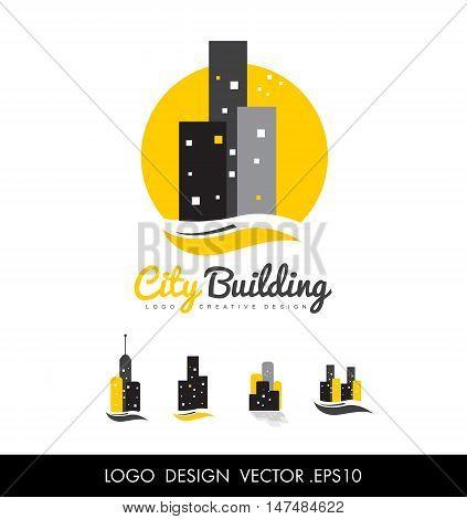 City vector logo icon design abstract concept skyscraper