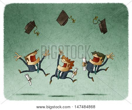 Illustration of three happy alumni in suits with diploma papers in hands jumping and throwing graduating caps in the air.