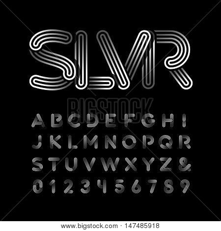 Silver Font. Vector Alphabet With Chrome Effect Letters And Numbers.