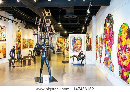 San Francisco USA - September 21 2015: A modern art exhibition in Fishermans Warf area