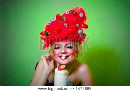 Strawberry Girl Eating Whipped Cream