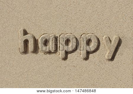 Happy written in sand letters. Very simple and graphic.