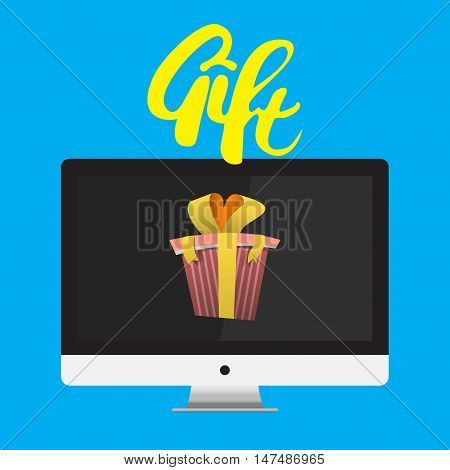 Vector Monitor With Gift Ribbon isolated on blue background