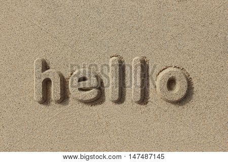 Hello written in sand letters. Very simple and graphic.