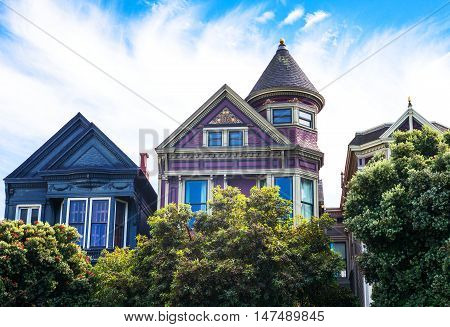 San Francisco California the colored traditional houses of Alamo square