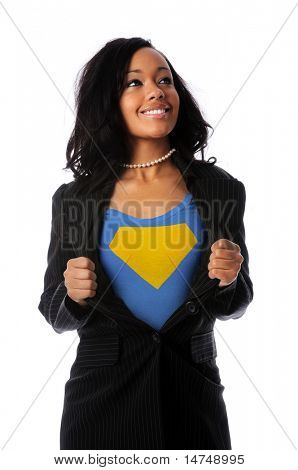 African American businesswoman dressed as super hero