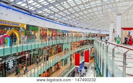 Moscow, Russia - August 7: Shopping center Auchan on August 7, 2016 in Moscow, Russia. Auchan is one of the largest companies on russian market
