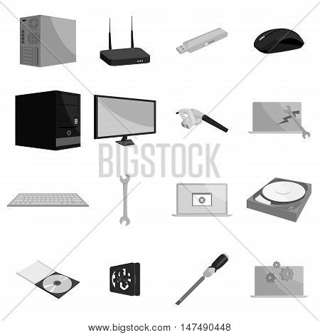 Computer hardware and technology icons set in black monochrome style. Computer parts set collection vector illustration