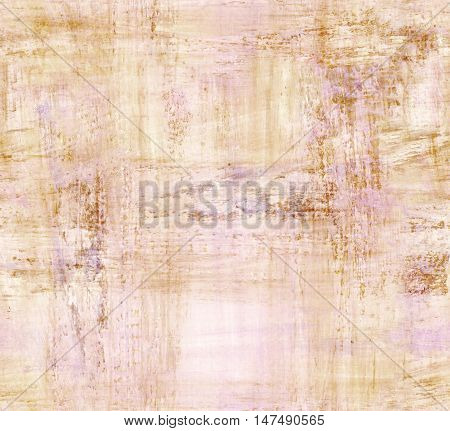 A seamless background texture with abstract brush strokes, beige and light purple. An abstract repeat pattern. A piece of faded paper with copyspace