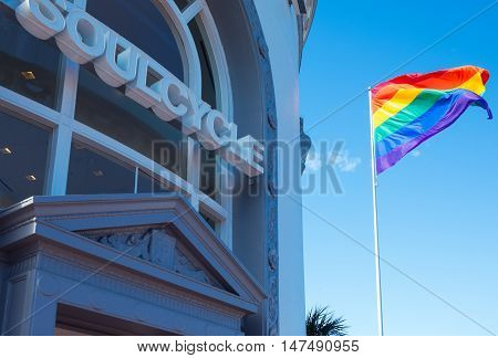 San Francisco USA - September 26 2015: The rainbow flag flying outside a fitness club in Castro street