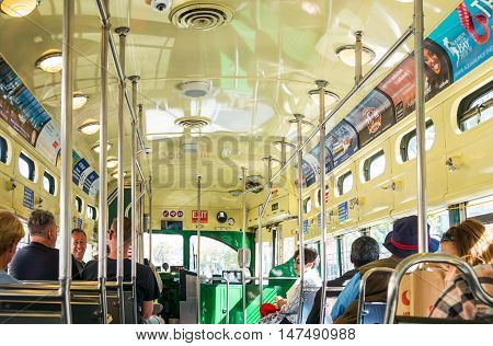 San Francisco USA - September 26 2015: Tourists travelling in an historical streetcar