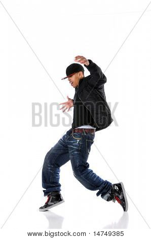 African American hip hop man dancing isolated over white poster