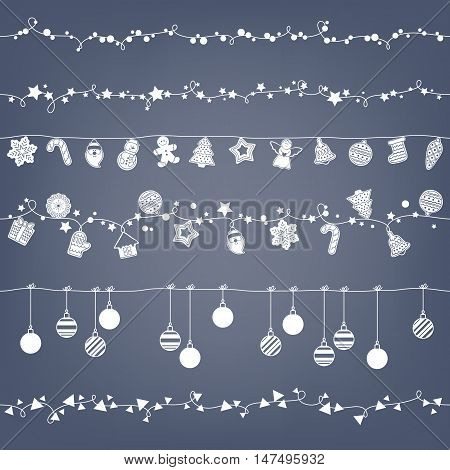 Garlands seamless horizontal borders set. Party new year christmas decorations. Cookies and christmas balls. Gingerbread man star santa snowflake tree and other holiday symbols. Vector illustration.