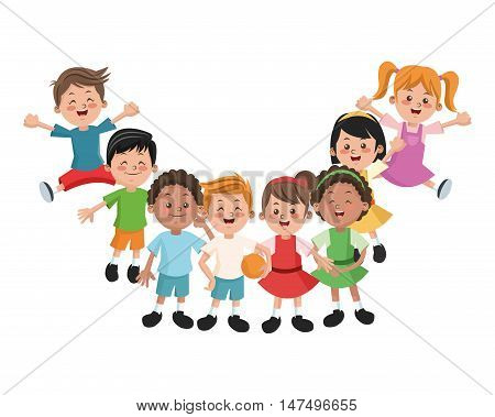 Group of happy girls and boys cartoon kids. Childhood student and happyness theme. Colorful design. Vector illustration