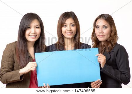 3 business woman holding blank plate on white background