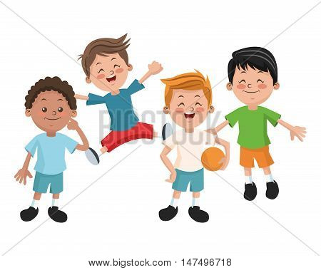 Group of happy boys cartoon kids. Childhood student and happyness theme. Colorful design. Vector illustration
