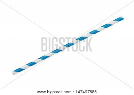 blue striped eco paper straw isolated on white background