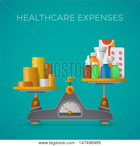 Healthcare Expenses With Balance Scales Concept In Flat Style