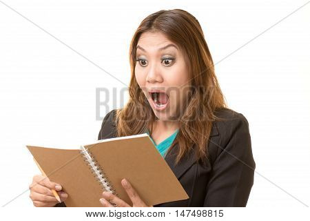 Woman shocked by the text in the note