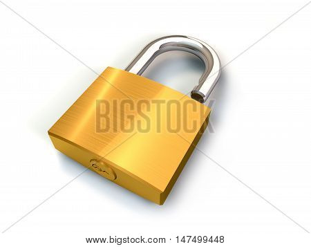 3d illustration of opened padlock on white background