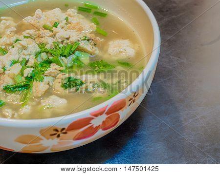 Minced pork omelet soup. Bangkok food.Thailand food.