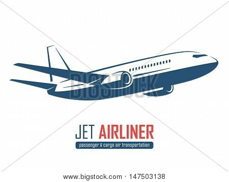 Jet Airliner, Airplane Emblem, Label, Icon, Badge, Silhouette On White Background. Vector Illustrati