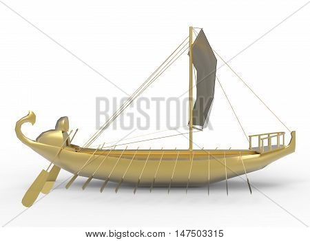 3d illustration of golden egyptian boat. white background isolated. icon for game web.