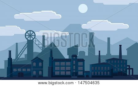 Industrial factory building concept. Processing plant on a blue background