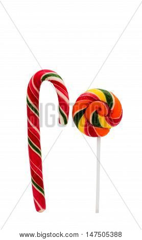 christmas lollipop sucker cane isolated on white