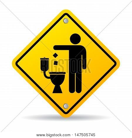 Do not litter in toilet icon vector illustration isolated on white background