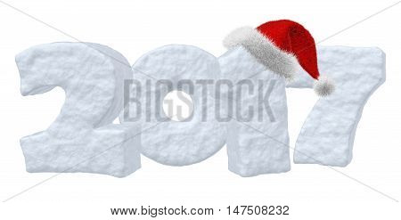 Happy New Year creative holiday concept - 2017 new year sign text written with numbers made of snow with Santa Claus fluffy red hat New Year 2017 winter snow symbol 3d illustration isolated on white
