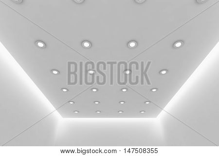 Abstract architecture white room interior - ceiling of empty white room with white wall white floor white ceiling with small round ceiling lamps and hidden ceiling lights and empty space 3d illustration
