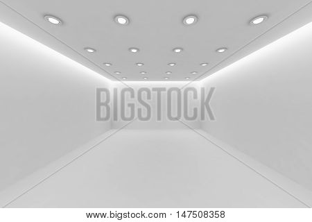 Abstract architecture white room interior - empty white room with white wall white floor white ceiling with small round ceiling lamps and hidden ceiling lights and empty space 3d illustration.