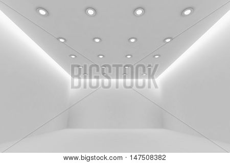 Abstract architecture white room interior - empty white room with white wall white floor white ceiling with small round ceiling lamps and hidden ceiling lights wide view 3d illustration