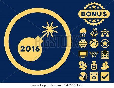 2016 Petard icon with bonus symbols. Vector illustration style is flat iconic symbols, yellow color, blue background.