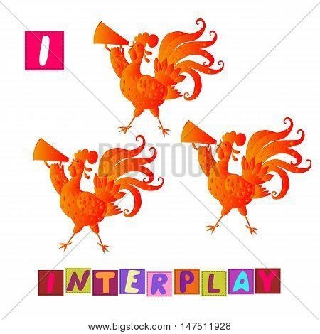 Year Of The Rooster. Cute Cartoon English Alphabet With Colorful Image And Word. Kids Vector Abc. Le