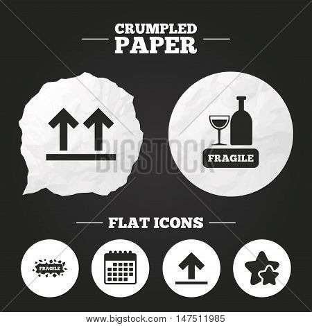 Crumpled paper speech bubble. Fragile icons. Delicate package delivery signs. This side up arrows symbol. Paper button. Vector
