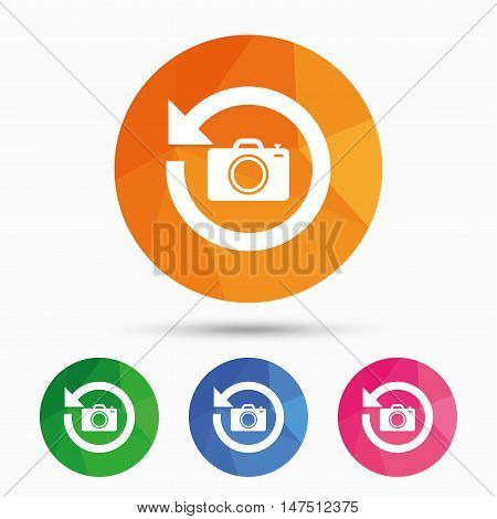 Front photo camera sign icon. Digital photo camera symbol. Change front to back. Triangular low poly button with flat icon. Vector