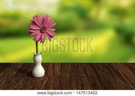3D rendering of pink gerbera daisy in a white vase on wooden table