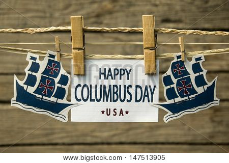 Happy Columbus day greeting card or background.