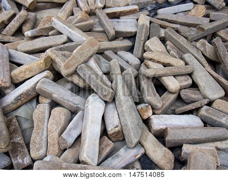 A pile of sticks from a natural stone cladding